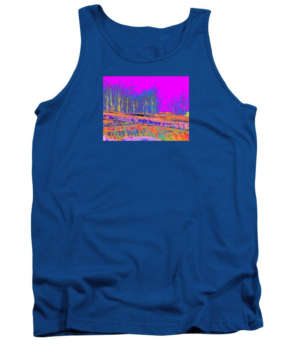 Contemporary Modern Colorful Landscape Surreal Colors Digital Abstraction Tank Top featuring the digital art Blinn Hill Treeline by Expressionistartstudio Priscilla-Batzell