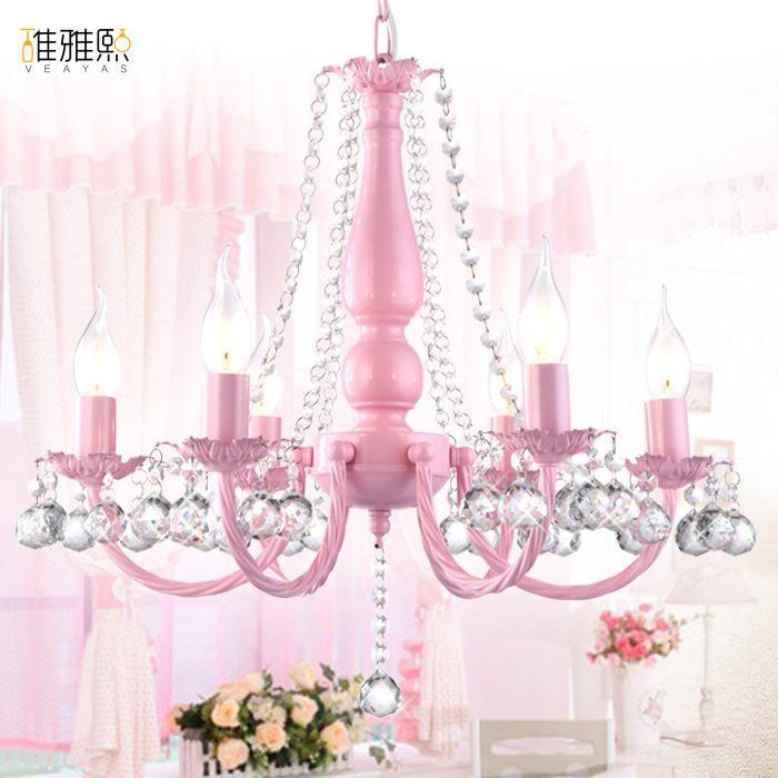 Light Fixture Girl Pink White Lighting Children Lamps Lamp Crystal Chandelier