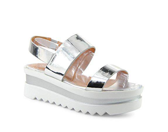 Damen Sandalen Plateau Sandaletten HIgh Heels Metallic Glanz