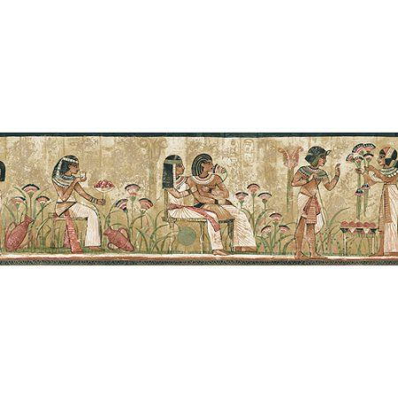 Blue Mountain Egyptian Wallpaper Border, Beige Wallpaper