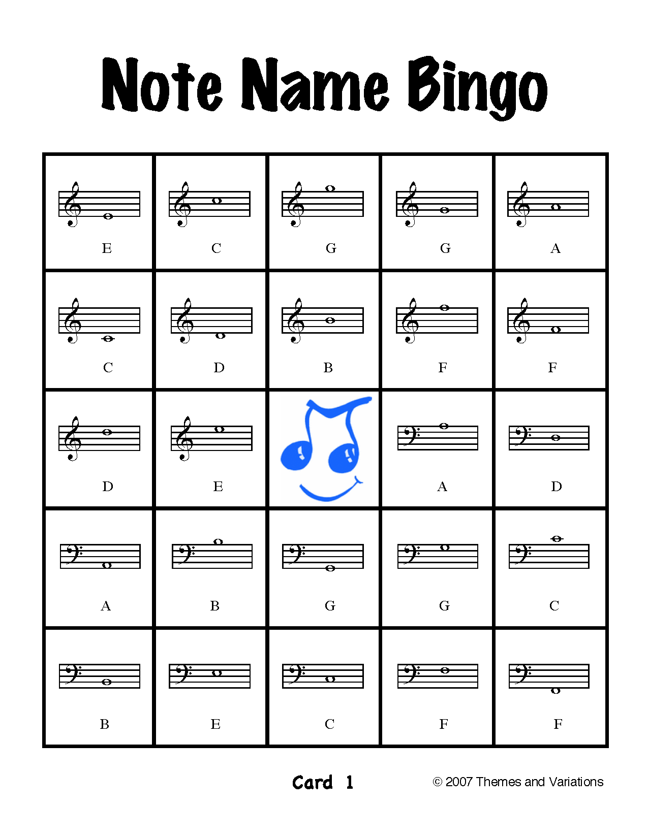 Note Name Bingo This kit includes 30 Note Name Bingo cards (double ...