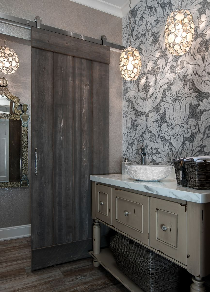 Dura Supreme Bath Furniture Vanity With Distressed Heritage Paint Finish Shabby Chic Design Rustic