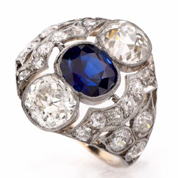 Antique Sapphire Diamond Platinum Engagement/Cocktail Ring Item #: 105601