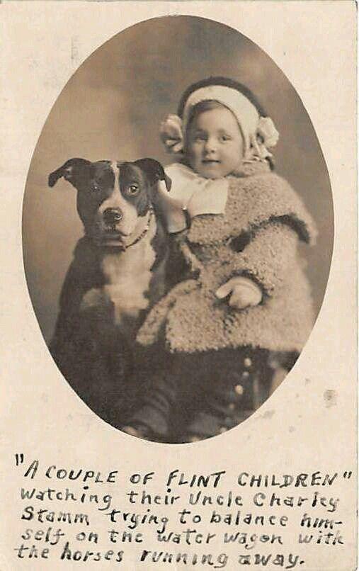Victorian Era Pitbull Nanny Dog And Girl And Dog Puppy