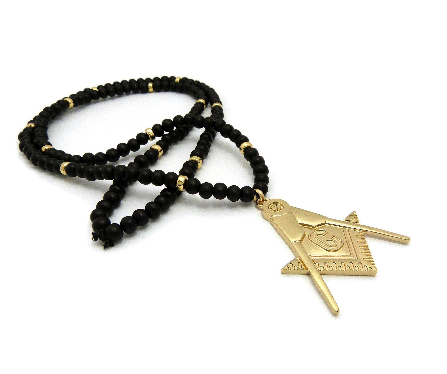 Freemason pendant 30 wood bead chain hip hop necklace accessory freemason pendant 30 wood bead chain hip hop necklace mozeypictures Choice Image