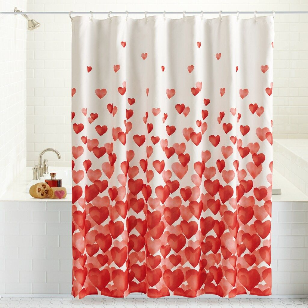 Celebrate Valentines Day Together Cascading Hearts Shower Curtain