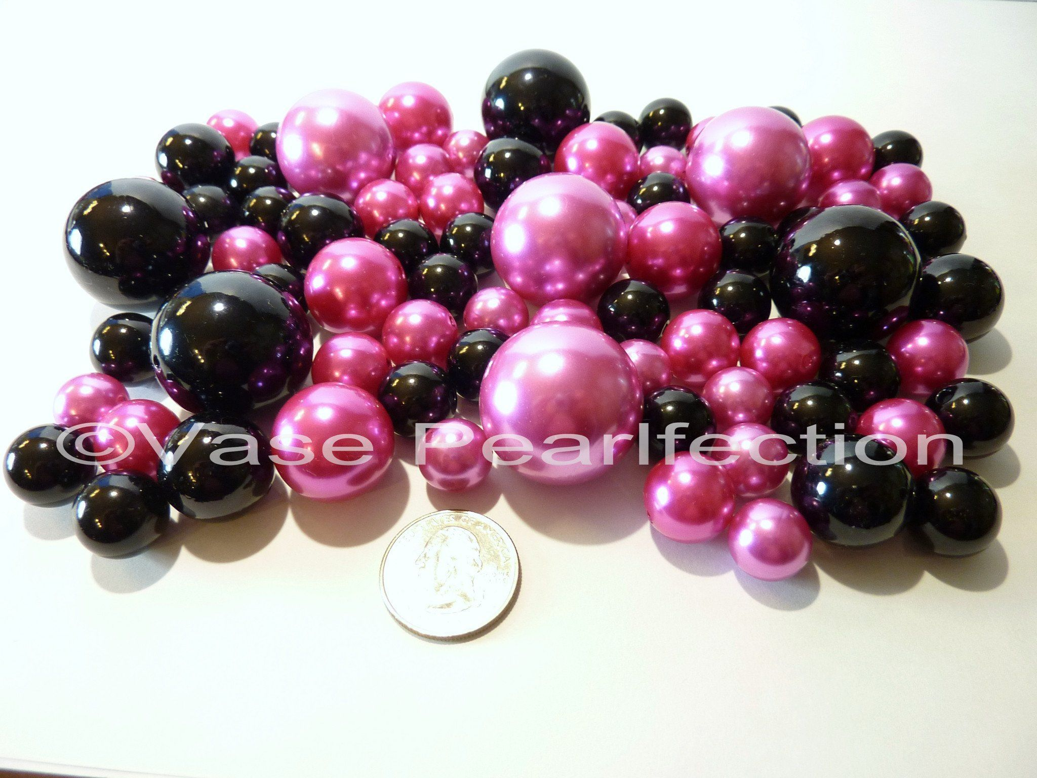 Valentine hot pinkfuchsia and black jumbo assorted sizes pearls valentine hot pinkfuchsia and black jumbo assorted sizes pearls vase fillers reviewsmspy