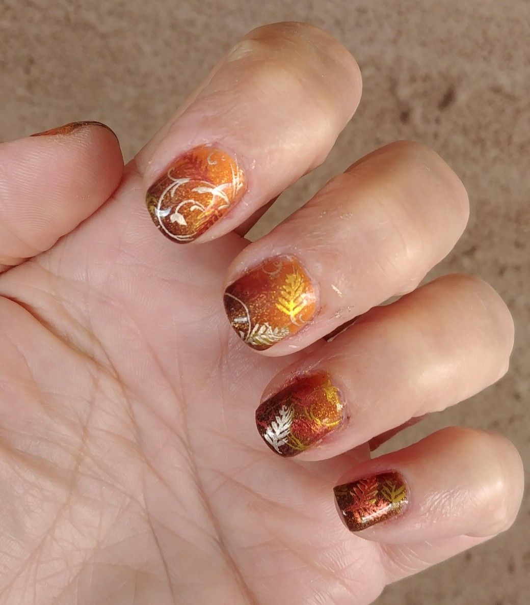 Fall Leaves Temperature Changing Gel Uv Led Nail Polish Orange Brown Gold Yellow Copper Gold Gel Nails Nails Nail Polish