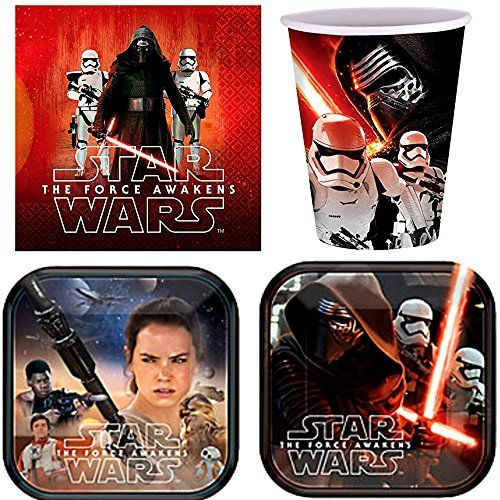 Star Wars Party Supplies for 16 People 48 Piece Set 16 Cups 16 Dessert Plates and 16 Lunch Napkins ** You can find out more details at the link of the image.