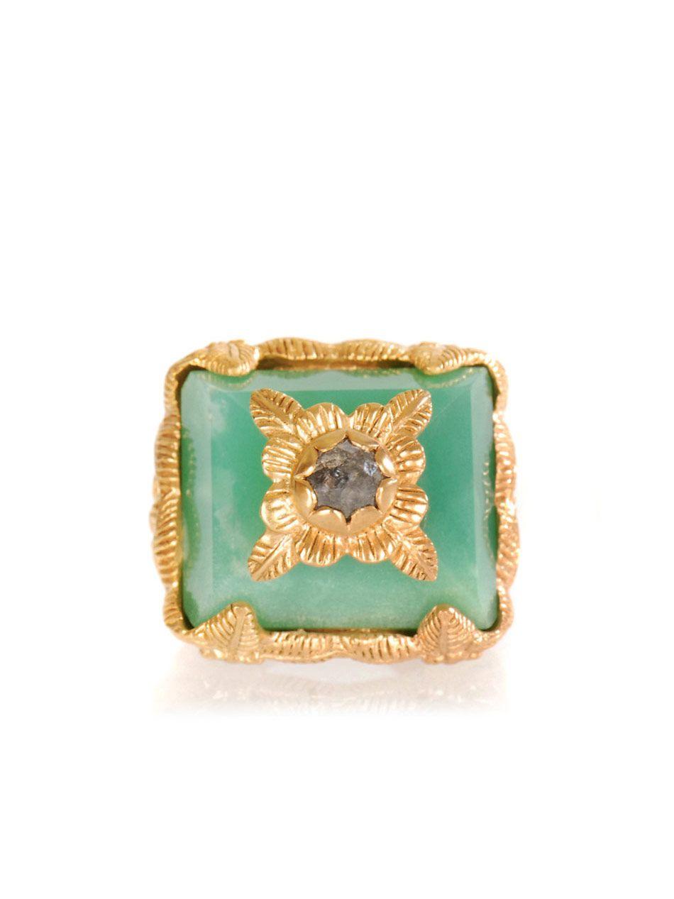 Jade Jagger Diamond & Chrysoprase ring AU$755