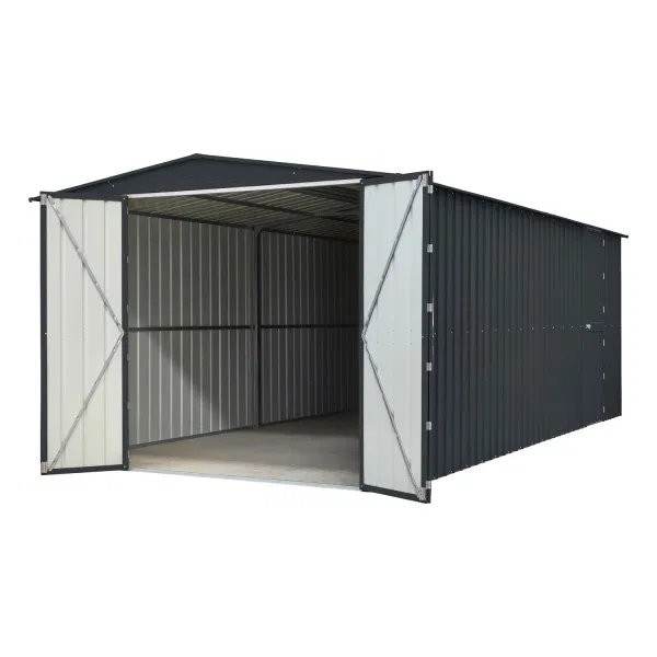 Lotus 10 Fronted Metal Double Hinged Garage Anthracite Grey In 2020 Metal Garages Metal Shed Hinges