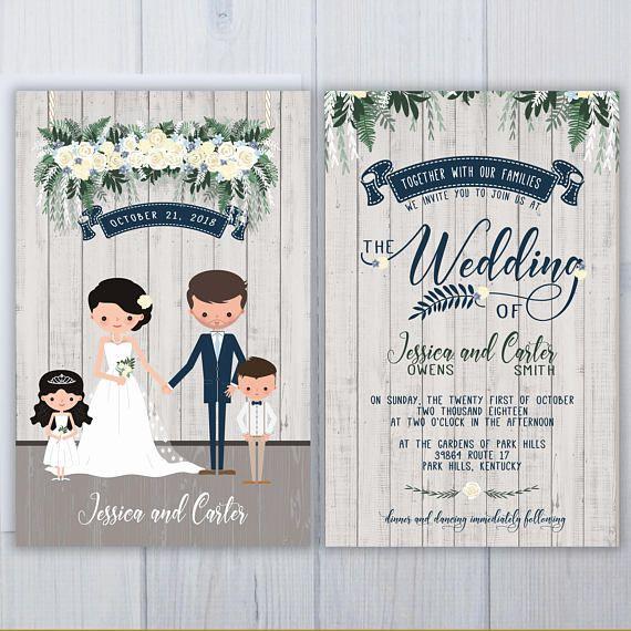Blended Family Wedding Invitations Illustrated Custom