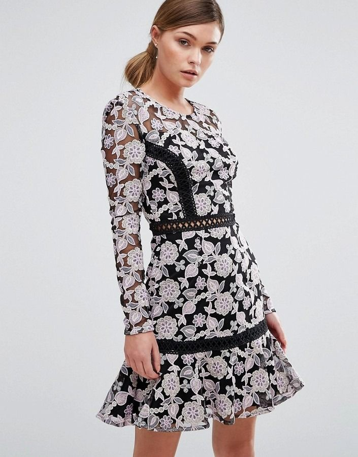 5a0903f6 True Decadence Lace Dress with Contrast Ladder Detail and Flippy Skirt at  ShopStyle