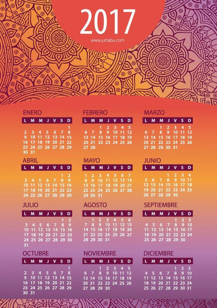 Calendario 2017 en español con Mandalas para imprimir Gratis ...
