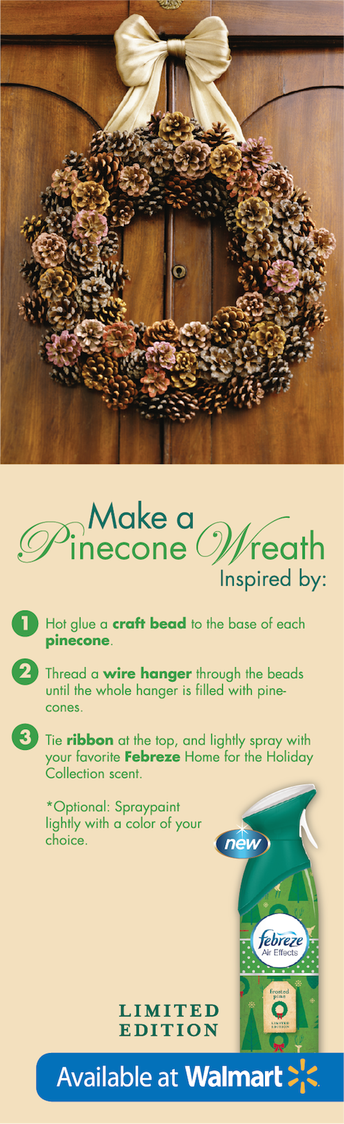This #DIY pinecone wreath is a perfect greeting for holiday guests #FebrezeHoliday