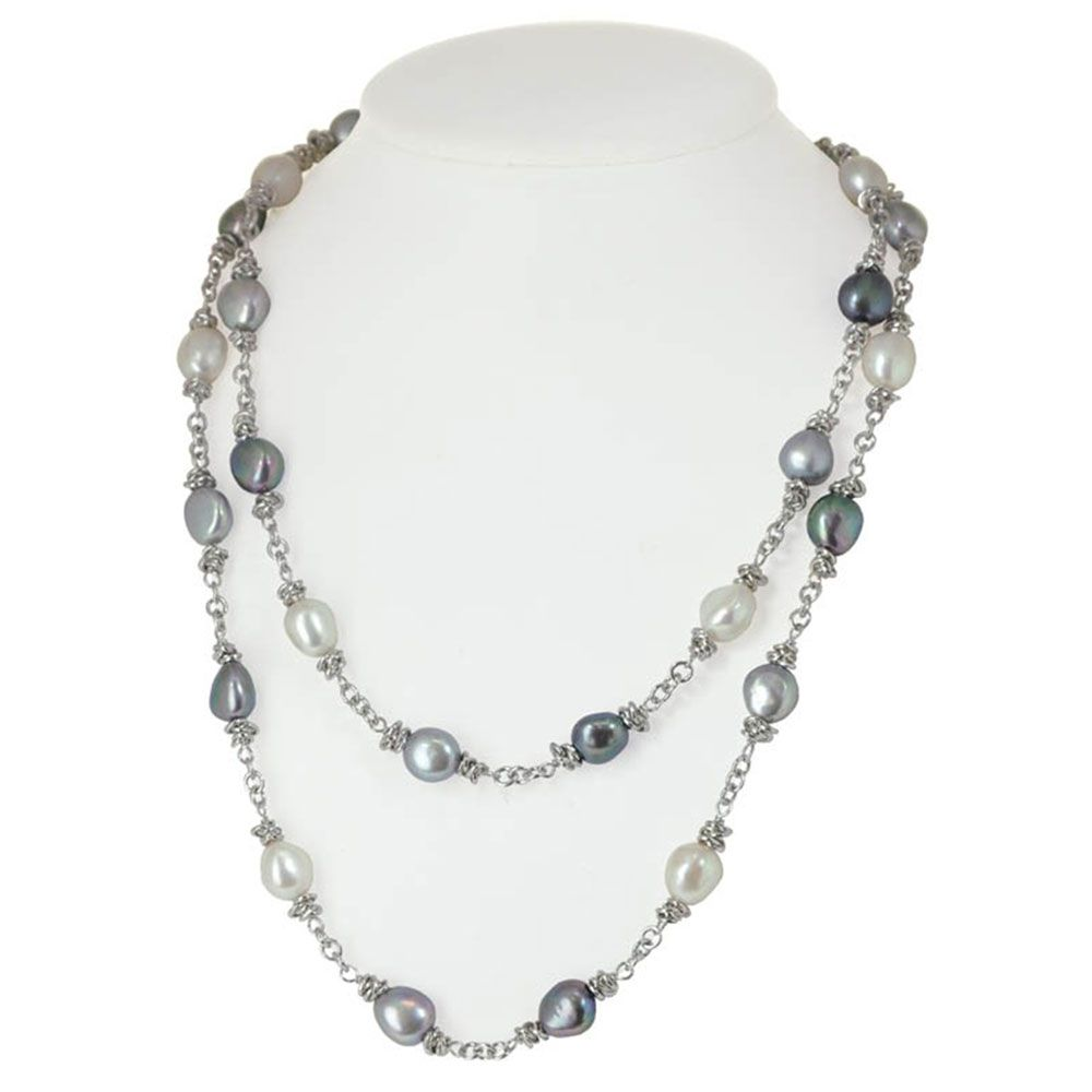Fine Jewelry Cultured Freshwater Pearl and White Crystal Sterling Silver Multi-Chain Necklace xJJMWdm