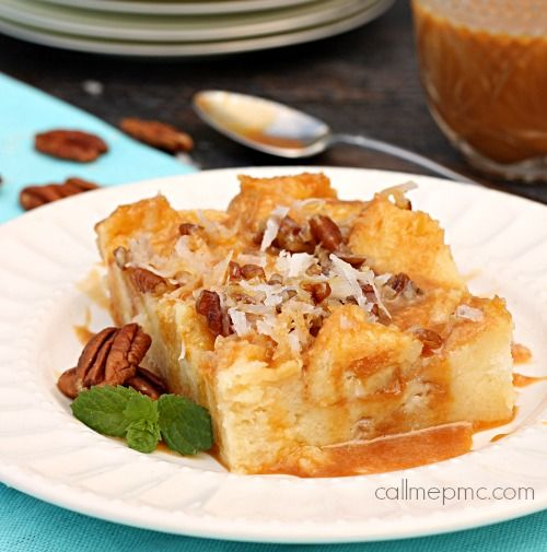Caramel Coconut Cream Bread Pudding Recipe Bananas Foster Bread Pudding Recipe Dessert Recipes Food Recipes