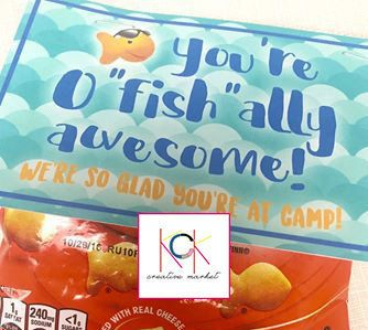 """Customizable goldfish favor tags - """"You're o""""fish""""ally awesome! We're so glad you're at camp!"""" Camp snacks, birthday favors, back to school by KCKCreativeMarket on Etsy"""