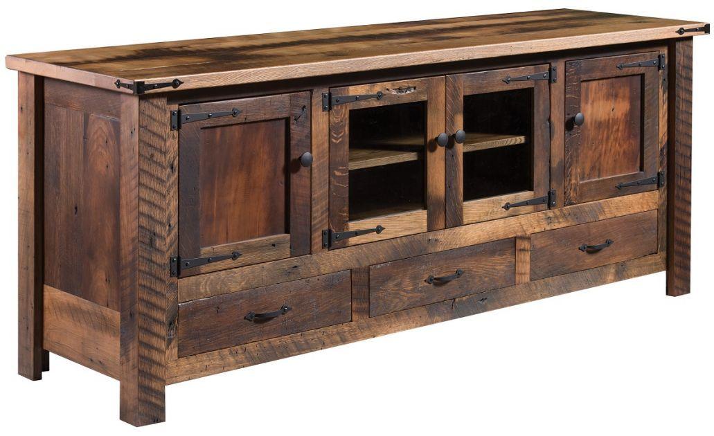 El Dorado Reclaimed 4 Door Tv Stand Countryside Amish Furniture Amish Furniture Reclaimed Barnwood Furniture Rustic Tv Stand