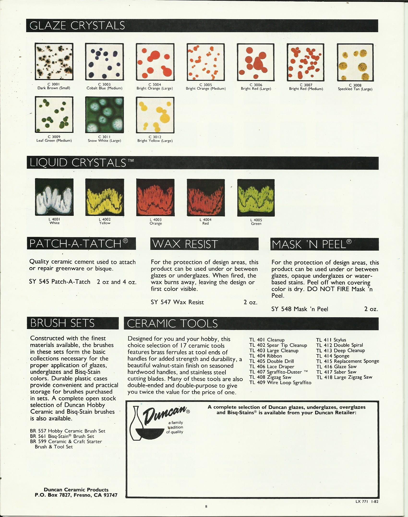 Duncan Glaze Crystal Color Chart Ceramic Glazes Pinterest