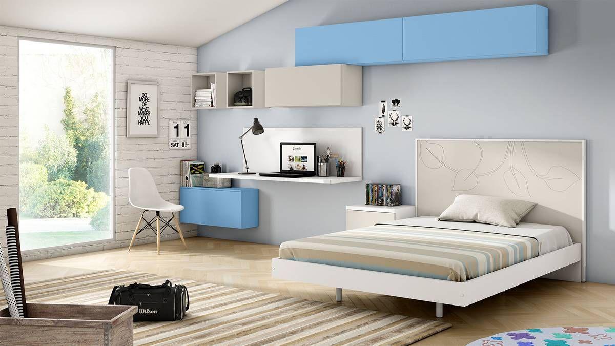 Dormitorio Juvenil Con Cama Grande Y Elementos Lacados