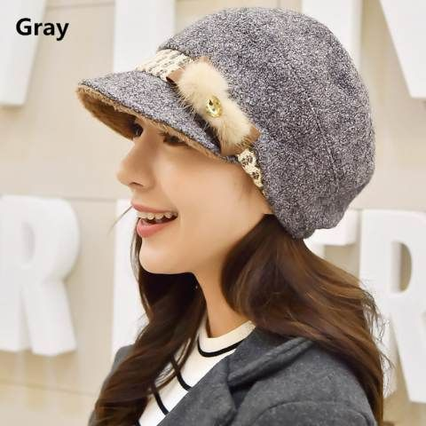 Winter beret hat for women fascinator trilby hat bow decoration