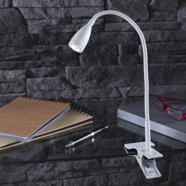 Lampe De Bureau A Pince Flexible En Metal Avec Led Integree Gao