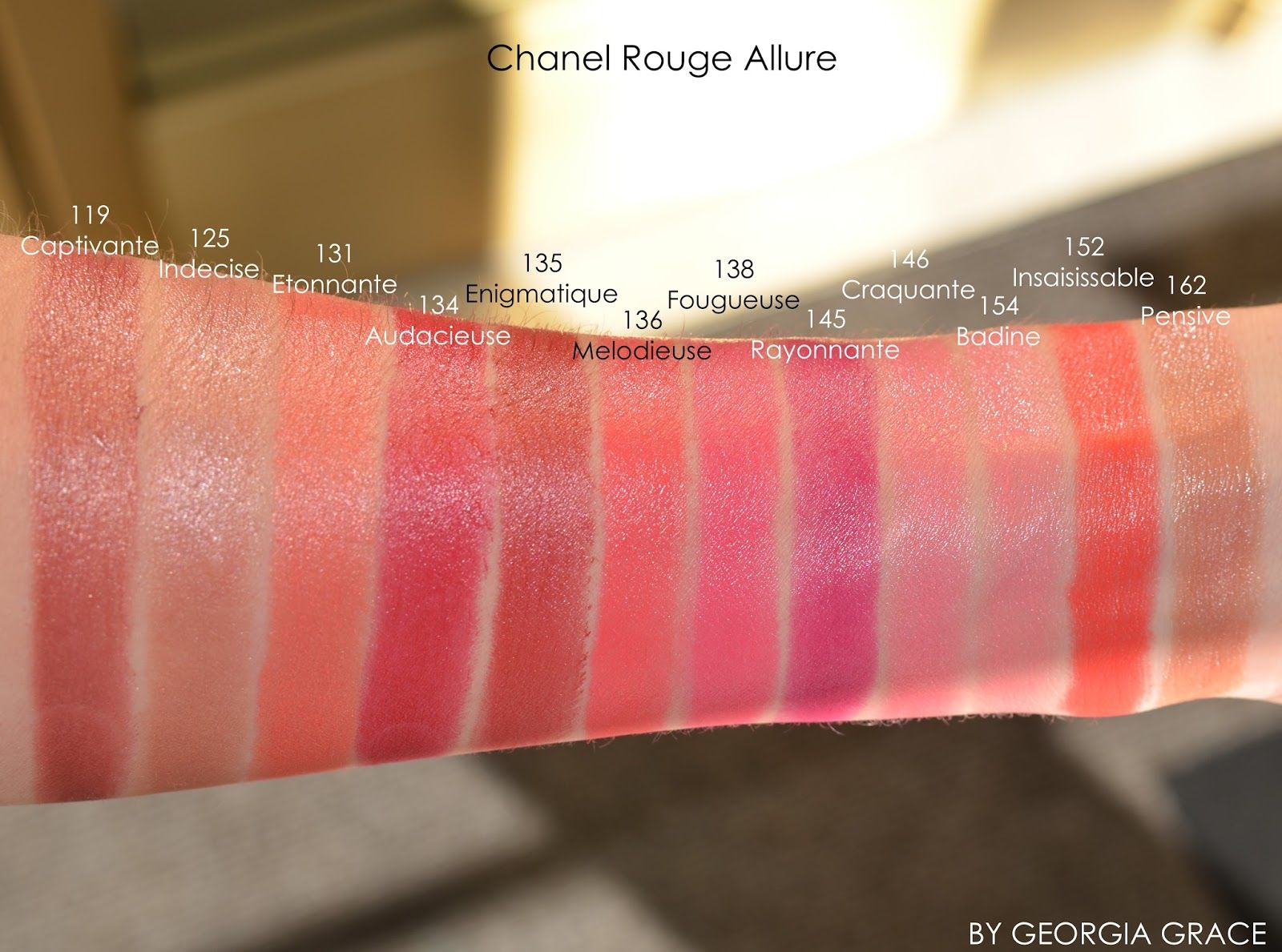 Chanel Rouge Allure Swatches of All Shades | LIPSTICK ...