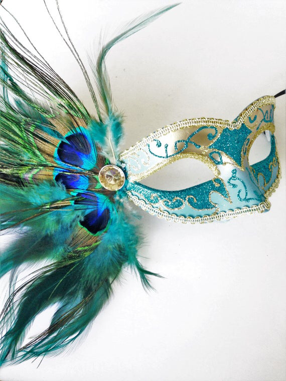 GLITTERING TURQUOISE /& GOLD VENETIAN MASQUERADE PARTY  MASK ON A  HAND STICK