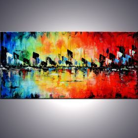 """Art by Ada - From Dawn Till Dusk 48"""" Large Abstract Colorful Art Painting, Colorful Original Contemporary modern Blues,Reds, Oranges, Yellow, Green, Turquoise, Pallete Knife"""