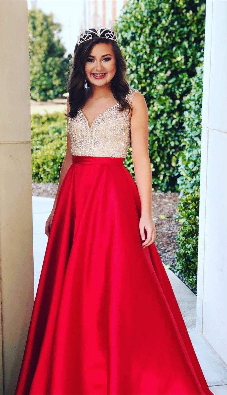 Sparkly beads pink long prom dress evening dress in