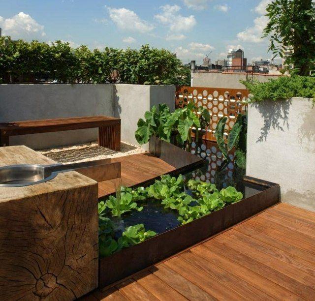 klein balkon miniteich pflanzen gem segarten brunnen g rten um balkon pinterest plantas y. Black Bedroom Furniture Sets. Home Design Ideas