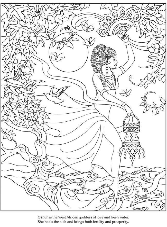 African Goddess Love And Fresh Water Africa Coloring Pages For