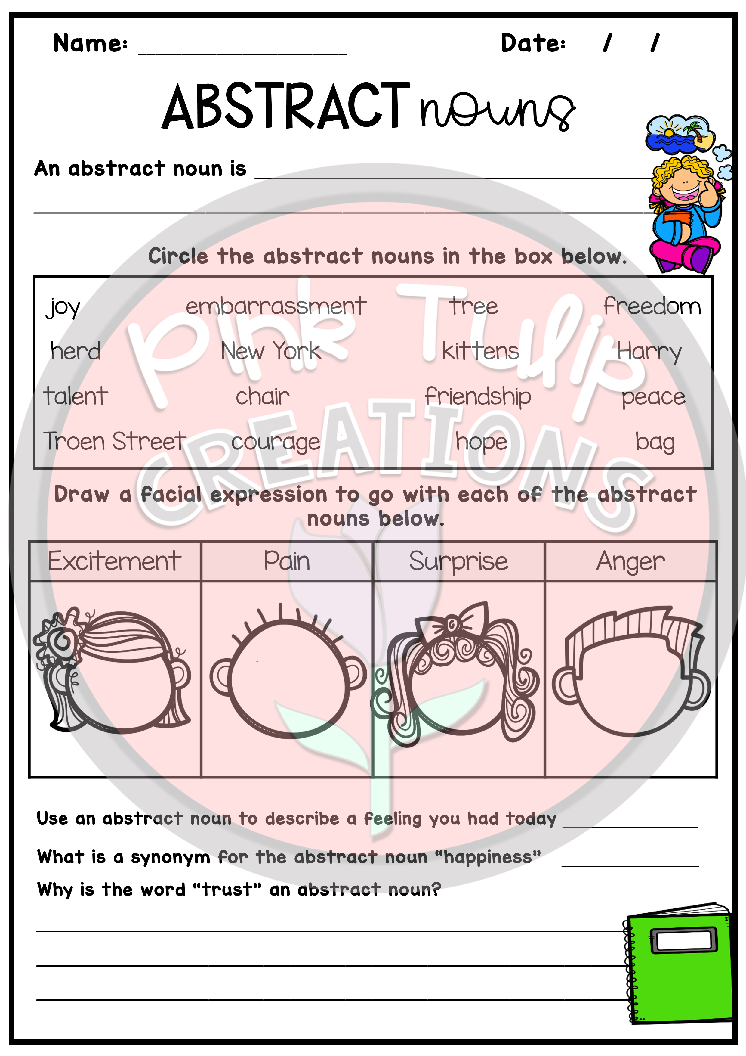 Nouns Worksheet Pack Common Proper Abstract Collective Pronouns Abstract Nouns Concrete And Abstract Nouns Nouns And Pronouns