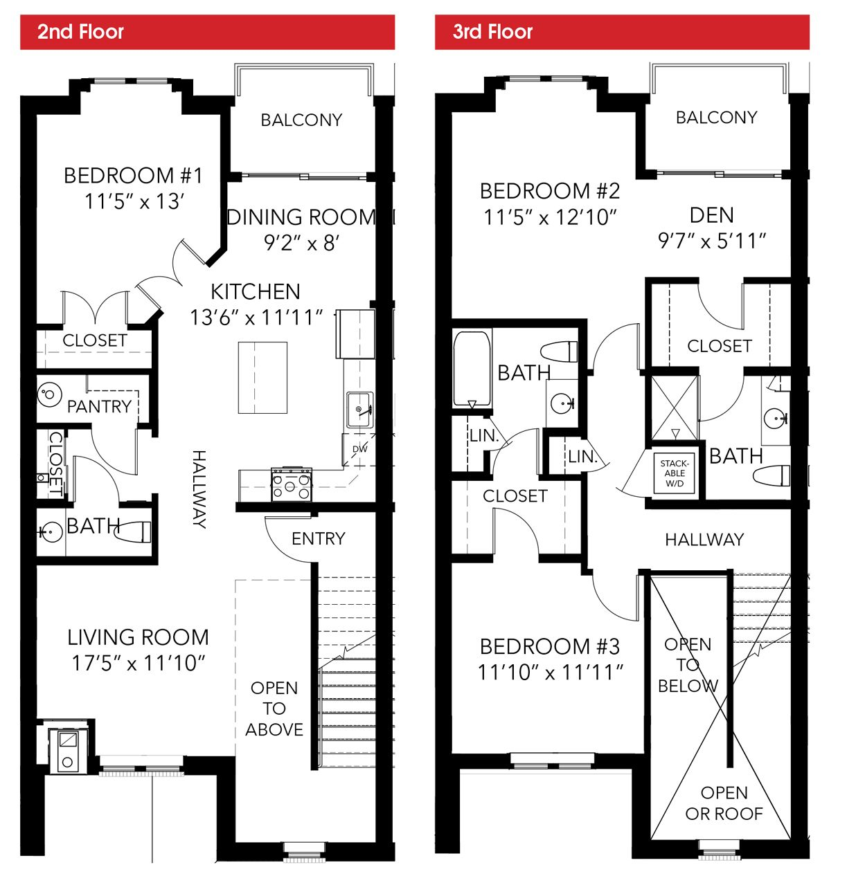 Oakbourne floor plan 3 bedroom 2 story leed certified for Two story condo floor plans
