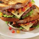 Steak Burger with Summer Salsa and Swiss Cheese