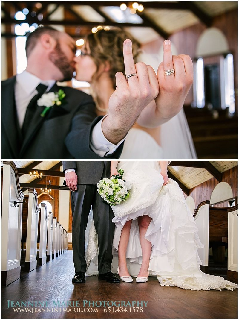 Fun wedding poses for the bride and groom photographed by twin