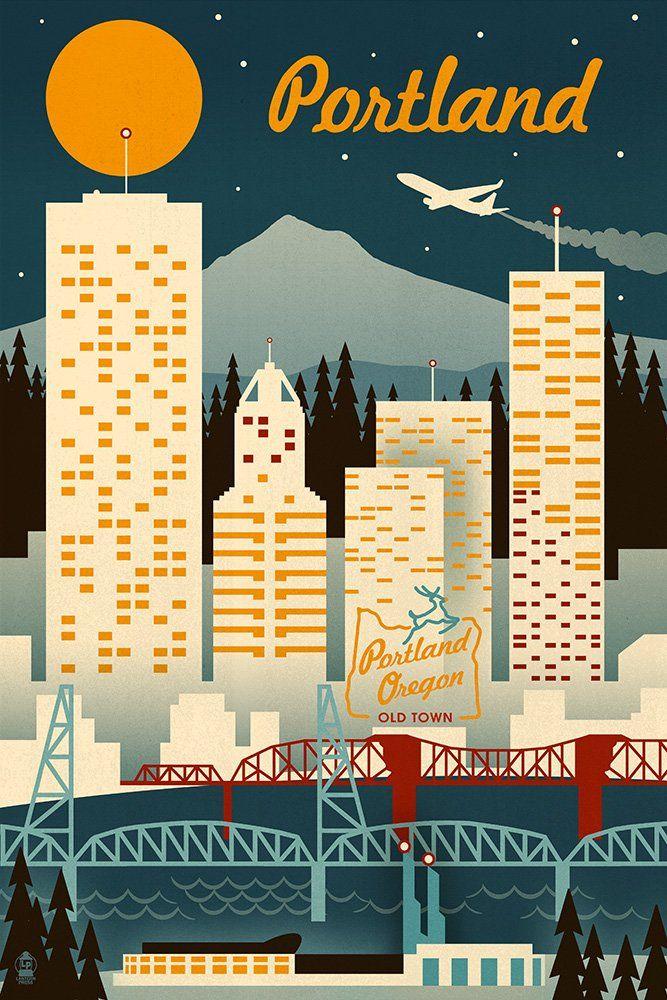 Amazon com: Portland, Oregon - Retro Skyline (9x12 Art Print
