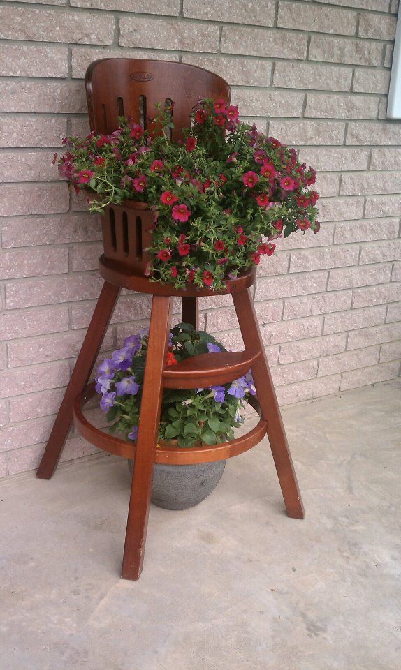 Great Way To Use Your Old High Chair By Becky Kennedy Chair Planter Antique High Chairs Garden Chairs Design