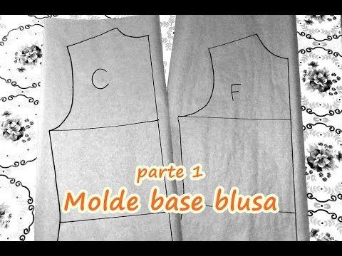 Molde base blusa feminina, frente e costa. Como fazer a diagramação? - YouTube