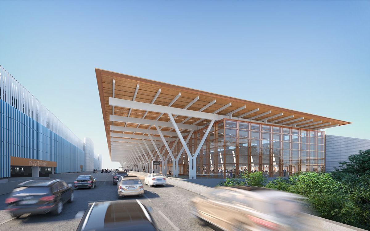 Gallery Of Som Unveils Revised Design For 1 5 Billion Kansas City Airport Terminal 1 Facade Architecture Airport Design Roof Design