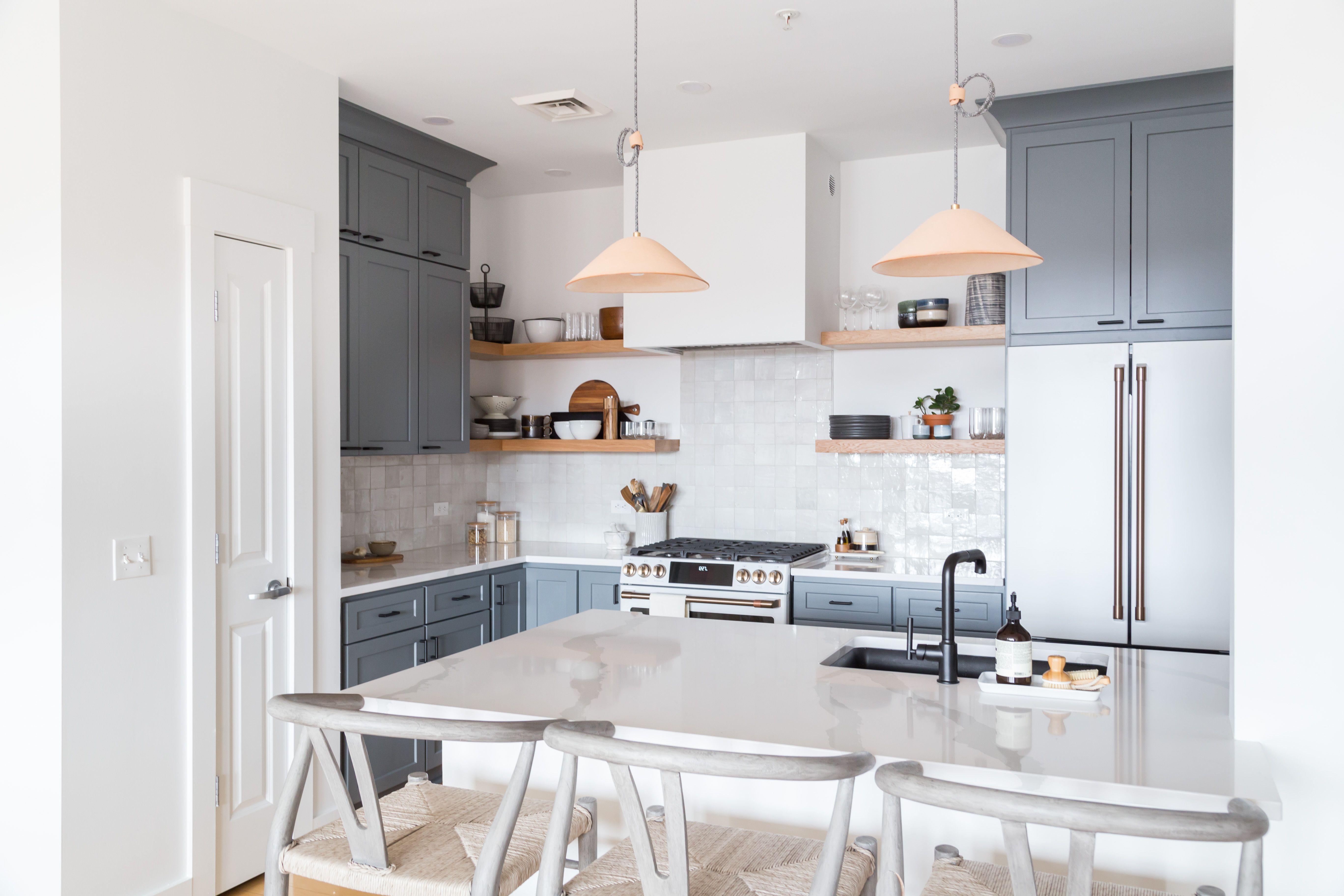 Winooski Vermont Waterfront Condo Kitchen In 2020 Blue Gray Kitchen Cabinets Condo Kitchen Open Kitchen Shelves
