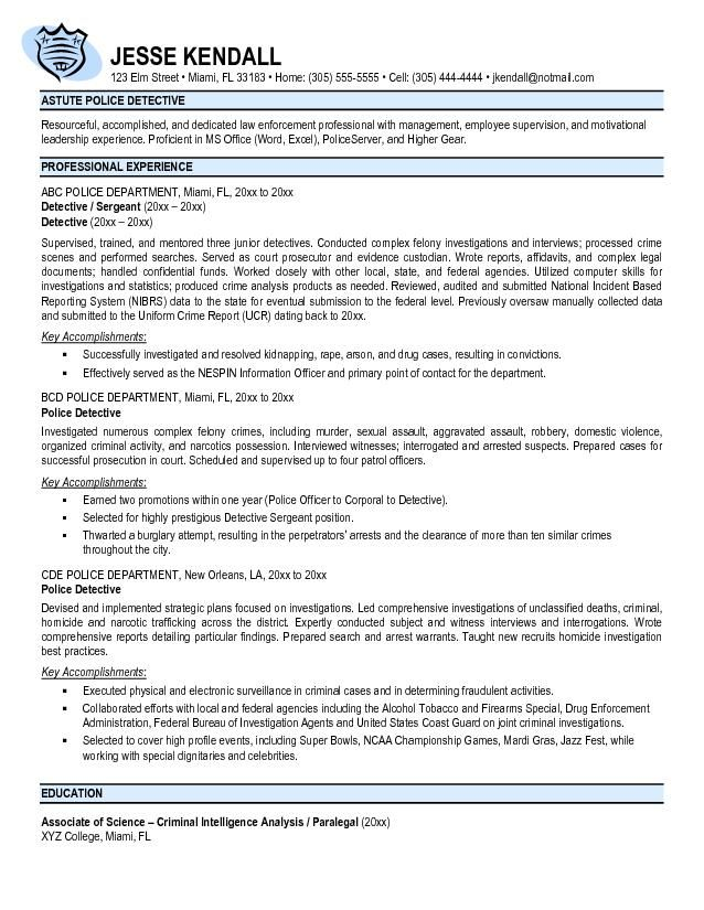 Free Police Officer Resume Templates - http\/\/wwwresumecareer - police resume