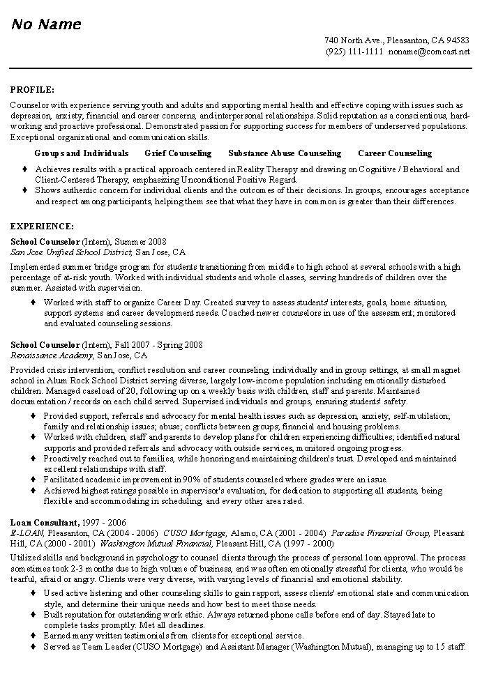 School Counselor Resume Sample Educator Resumes Resume Profile Resume Profile Examples Resume Objective