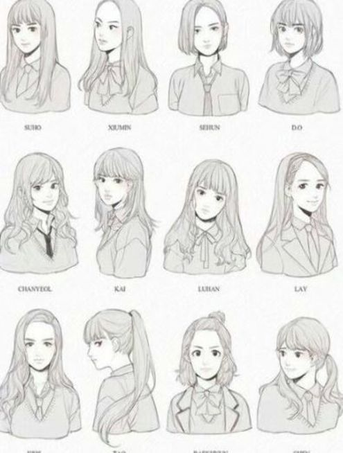 Hair Drawing Reference Hairstyles Anime Girls 21 Ideas Hair