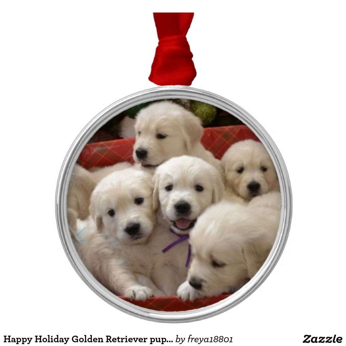 Happy Holiday Golden Retriever Puppies Metal Ornament Zazzle Com Golden Retriever Christmas Ornament Golden Retriever Christmas Golden Retriever