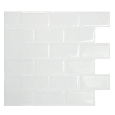 Peel And Stick Decorative Mosaic Wall Tile Smart Tiles Subway White 1095 Inw X 970 Inh Peel And Stick