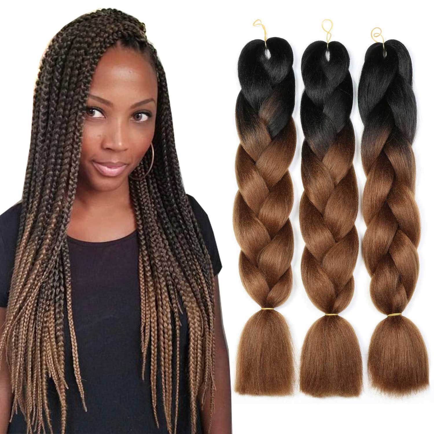 Weave Master Ombre Synthetic Braiding Hair Kanekalon 24 Inch Two