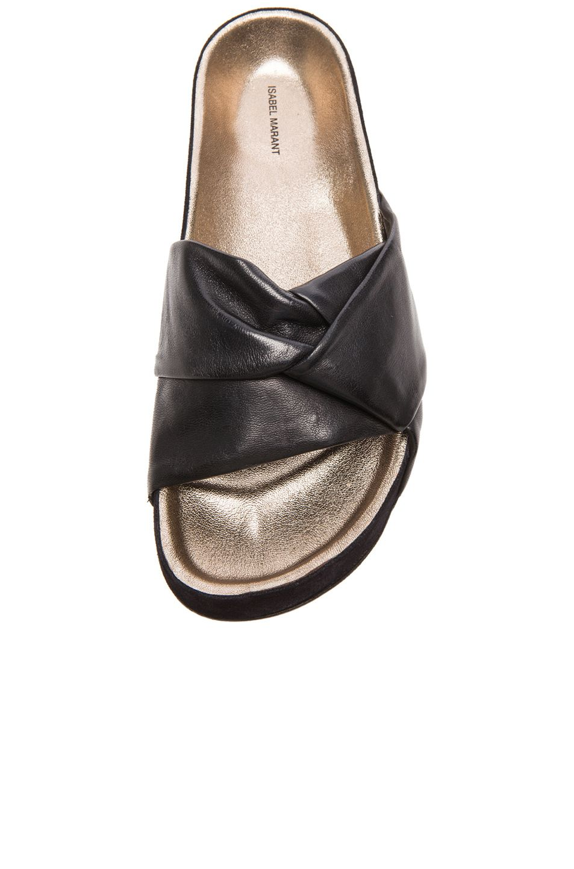 Isabel Marant Leather Slide Sandals new under $60 cheap online 2ZBgh5A