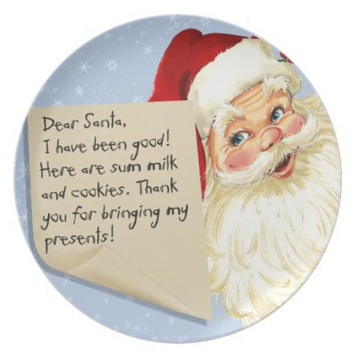 Dear Santa Milk And Cookies Plate